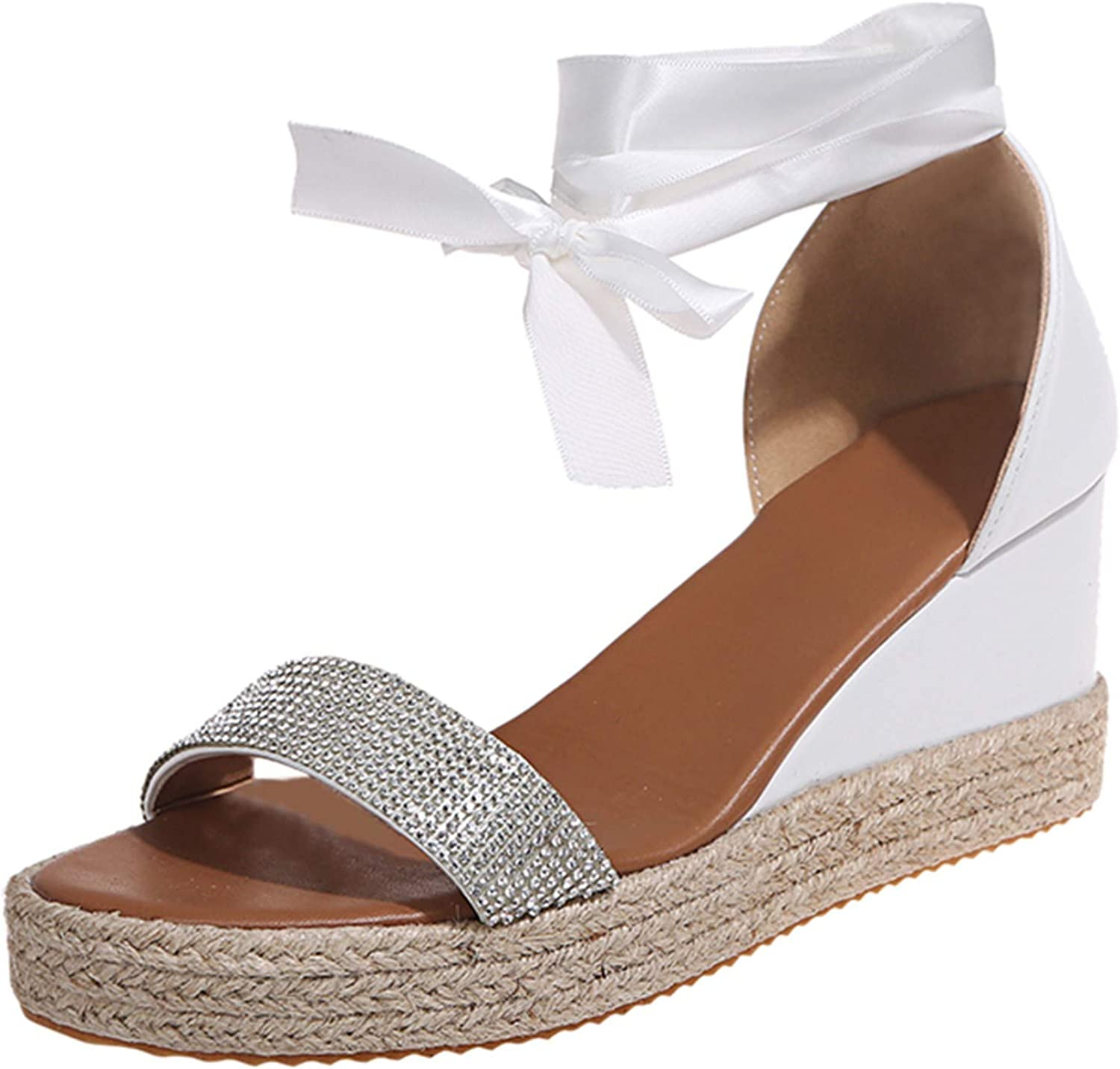 Women's Summer Lace-Up Wedges Weave Beach Open Toe Breathable Sa