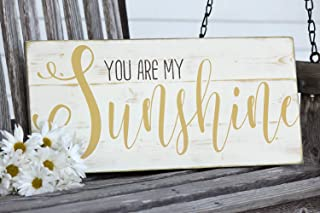 Susie85Electra You are My Sunshine Wall Art Hand Painted Wood Sign Great for Baby Room Or Home Decor 10.5 X 22