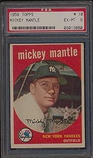 1959 Topps #10 Mickey Mantle HOF PSA 6 EXMT 51799