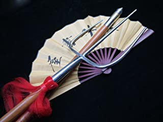 Kung Fu Tiger Fork-Trident(Stainless Steel Hand-Made,Two Wood rods) Chinese Martial Arts