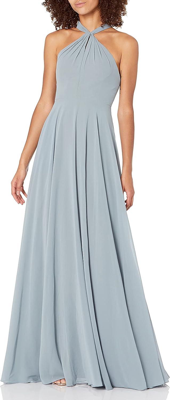 Jenny Yoo Women's Halle Cross Front Halter Neckline Chiffon Dress