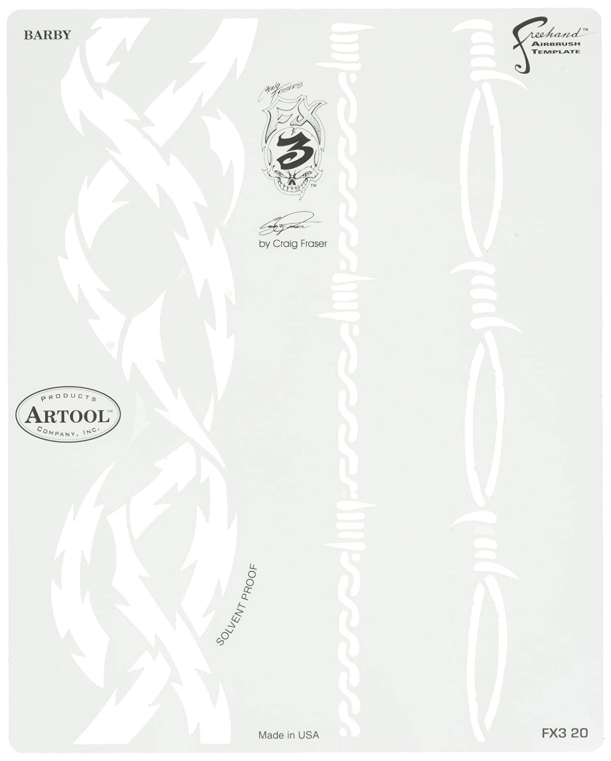 Artool Freehand Airbrush Templates,  Stencil Barby