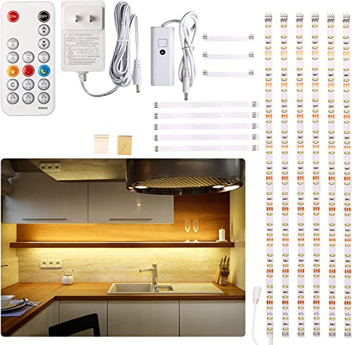 Under Cabinet LED Lighting kit, 6 PCS LED Strip Lights with Remote Control Dimmer and Adapter, Dimmable for Kitchen C...