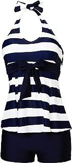 Women's Padded High Waist Slim Tankini Set Bathing Swimwear