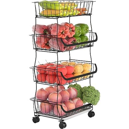 G.a HOMEFAVOR Corbeille à Fruits à 4 Étages, Panier de Rangement à Fruits en métal Porte Fruits avec Support pour Cuisine, Placard, Salle de