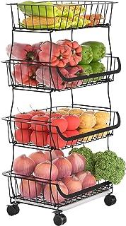 G.a HOMEFAVOR Corbeille à Fruits à 4 Étages, Panier de Rangement à Fruits en métal Porte Fruits avec Support pour Cuisine,...