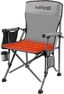 Sponsored Ad - FirstE Heated Camping Chair, Heavy Duty Folding Camp Chair, Padded Hard Arm Sports Chair for Beach,Lawn,Pic...