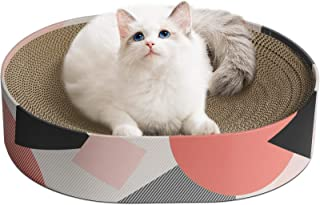ComSaf Cat Scratcher Cardboard, Oval Corrugated Scratch Pad, Cat Scratching Lounge Bed, Durable Recycle Board for Furnitur...