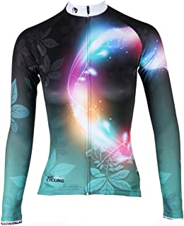 ILPALADINO Women's Cycling Jersey Long Sleeve Biking Shirt Breathable Leaves