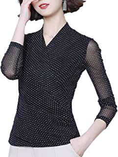 Womens Polka Dot Print Deep V-Neck Long Sleeve Wrap Front Loose Pullover Jumpers