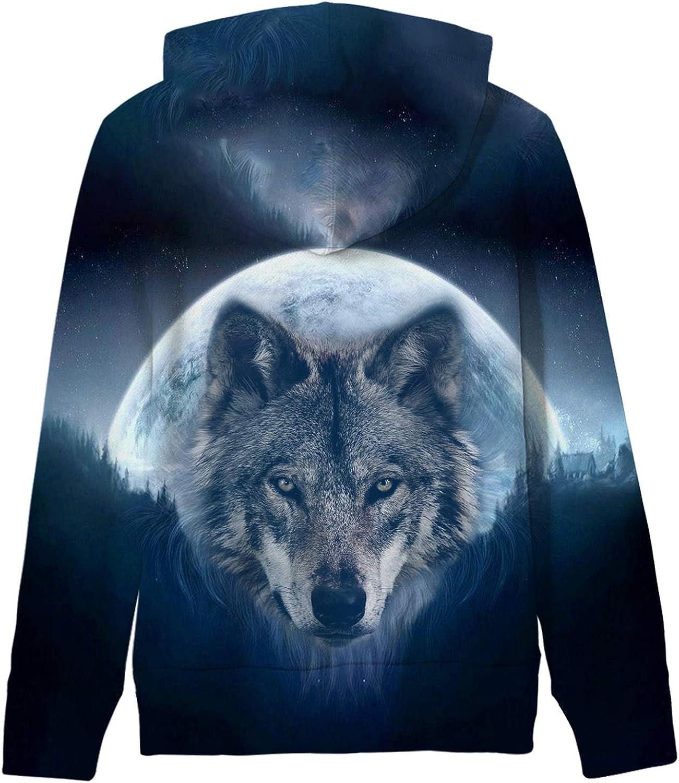 AIDEAONE Kinder Jungen Mädchen Kapuzenpullover 3D Print Fleece Pullover Hoodies Sweatshirt mit Kängurutasche Wolf 5