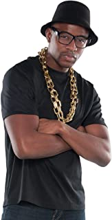Suit Yourself Old School Rapper Accessory Kit for Adults, Includes a Black Hat, Black Glasses, and Thick Chain Necklace