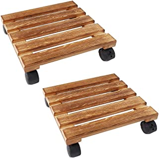 unho 2 Pack Plant Caddies with Wheels, 11.8 Inches Square Wooden Stand Patio Dolly with Lockable Wheels for Decorating Indoor Home Garden