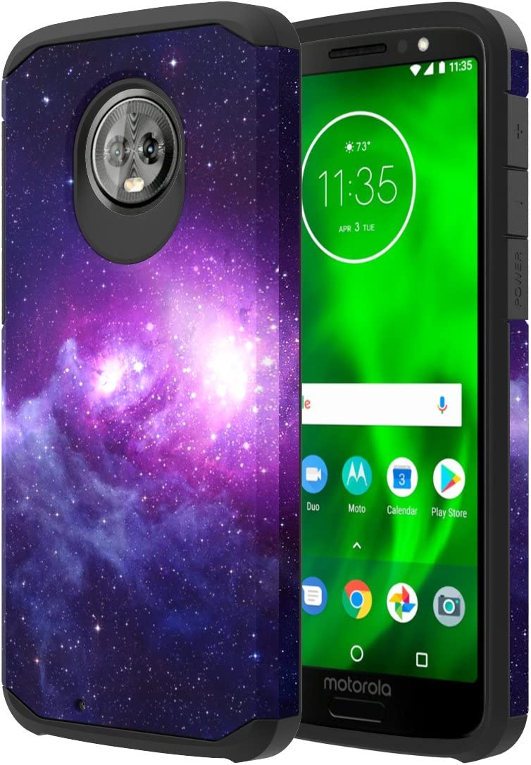 Moto G6 Case, Onyxii Hybrid Dual Layer Slim Graphic Armor Shockproof Impact Resistant Protective Cover Case for Moto G 6th Generation (Galaxy Cloud)