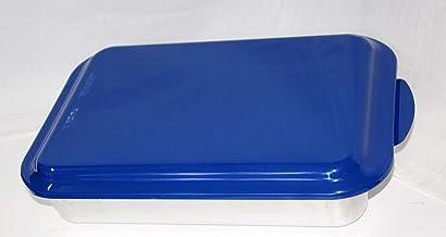 قالب كيك معدني 9×13 من نورديك وير – خَبز تجاري من الألومنيوم الطبيعي مع غطاء معدني مطلي بالمينا (أزرق)