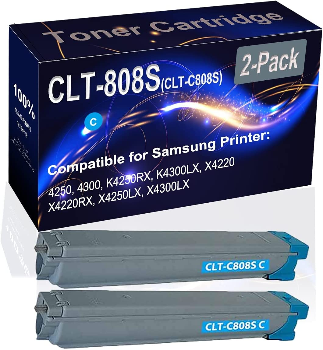 2-Pack (Cyan) Compatible K4250RX K4300LX Laser Printer Toner Cartridge (High Capacity) Replacement for Samsung CLT-808S (CLT-C808S) Printer Toner Cartridge