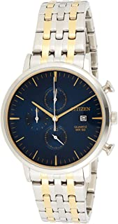 Citizen Stainless Steel Watch, Round Blue Dial Men's, Two Tone (Silver/Gold) Case and Band with Chronograph and Date Displ...