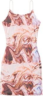 SheIn Women's Marble Print Sleeveless Mini Bodycon Dress Frill Pencil Short Dresses