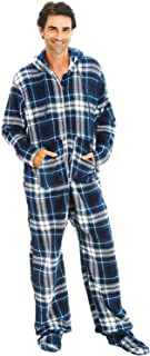Men's Warm Fleece One Piece Footed Pajamas, Adult Onesie...