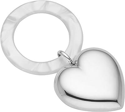 Reed and Barton Micaela Heart Silverplate Rattle, 0.25 LB, Metallic