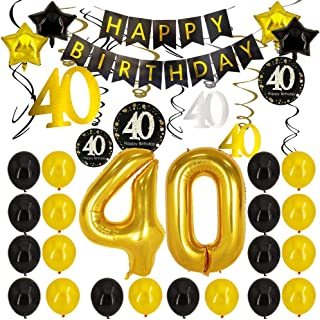 40th Birthday Decorations - 40th Number Balloons Black and Gold Party Decorations 40th Birthday Banner With 40th Hanging Swirls Birthday Decorations for women men