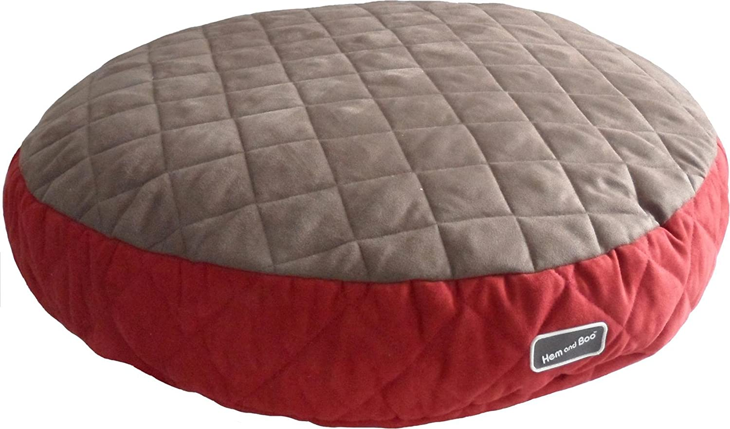 Hem and Boo Deep Fill Quilted Round Dog Bed  Brown and Brick Red