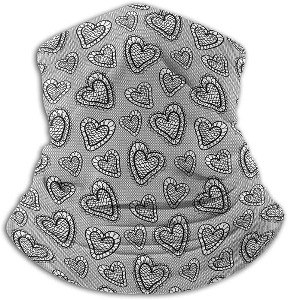 Neck Gaiters For Men Black and White Winter Neck Gaiter Gothic Romantic Theme Lace Style Heart Figures Doodle Valentines Day Art Black White
