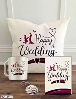 ALDIVO 12x12-inch Happy Wedding Printed Cushion Cover with Filler , Printed Coffee Mug , Marriage Greeting Card , Printed Key Ring Combo Pack