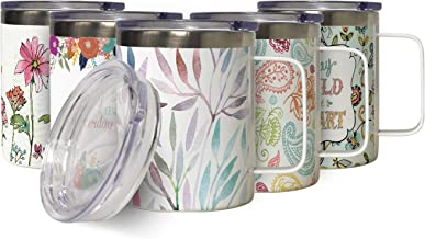 Watercolor Leaves Insulated Stainless Steel Coffee Mug with Lid, Double Wall Garden Lover Travel Friendly Mug with Handle