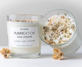 عطر و طعم خوشبو کننده من لوبیا سبز - عطر و طعم چاکرا متعادل کننده عطر و طعم Candle Natural Soy Wax - Sage White عطر و طعم طبیعی برای آروماتراپی