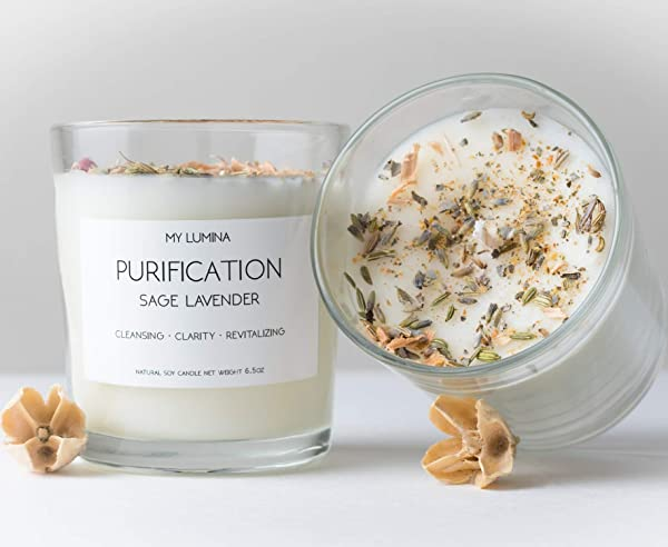My Lumina Purification Sage Lavender Candle Smudging Chakra Balancing Healing Candle Natural Soy Wax White Sage Natural Scented Purifying Candle For Aromatherapy