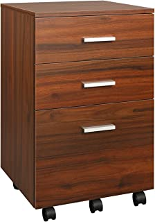 DEVAISE 3 Drawer Mobile File Cabinet, Rolling Wood Cabinet for Home Office, Walnut