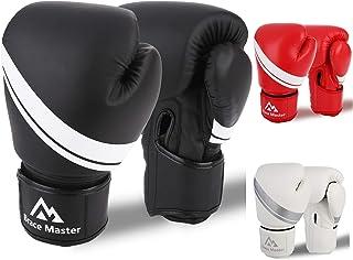 Brace Master Guantes Boxeo Cuero con Gel en Interior para Aumentar la Protección, Guantes de Entrenamiento Profesionales para Combates, Kickboxing, Boxeo, Lucha, Muay Thai al Aire Libre