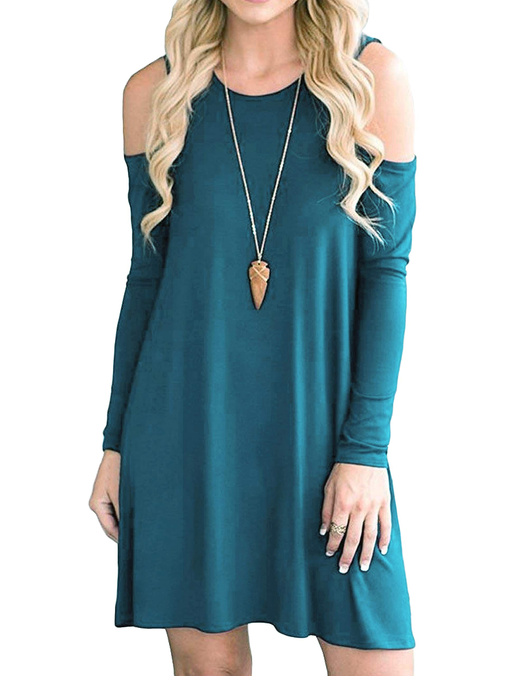 Available at Amazon: Aifer Women's Cold Shoulder Tunic Top Loose Casual Swing T-Shirt Dresses with Pockets