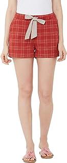Mystere Paris Classic Checks Lounge Shorts Casual Wear Loungewear Rust Cotton Shorts F482I