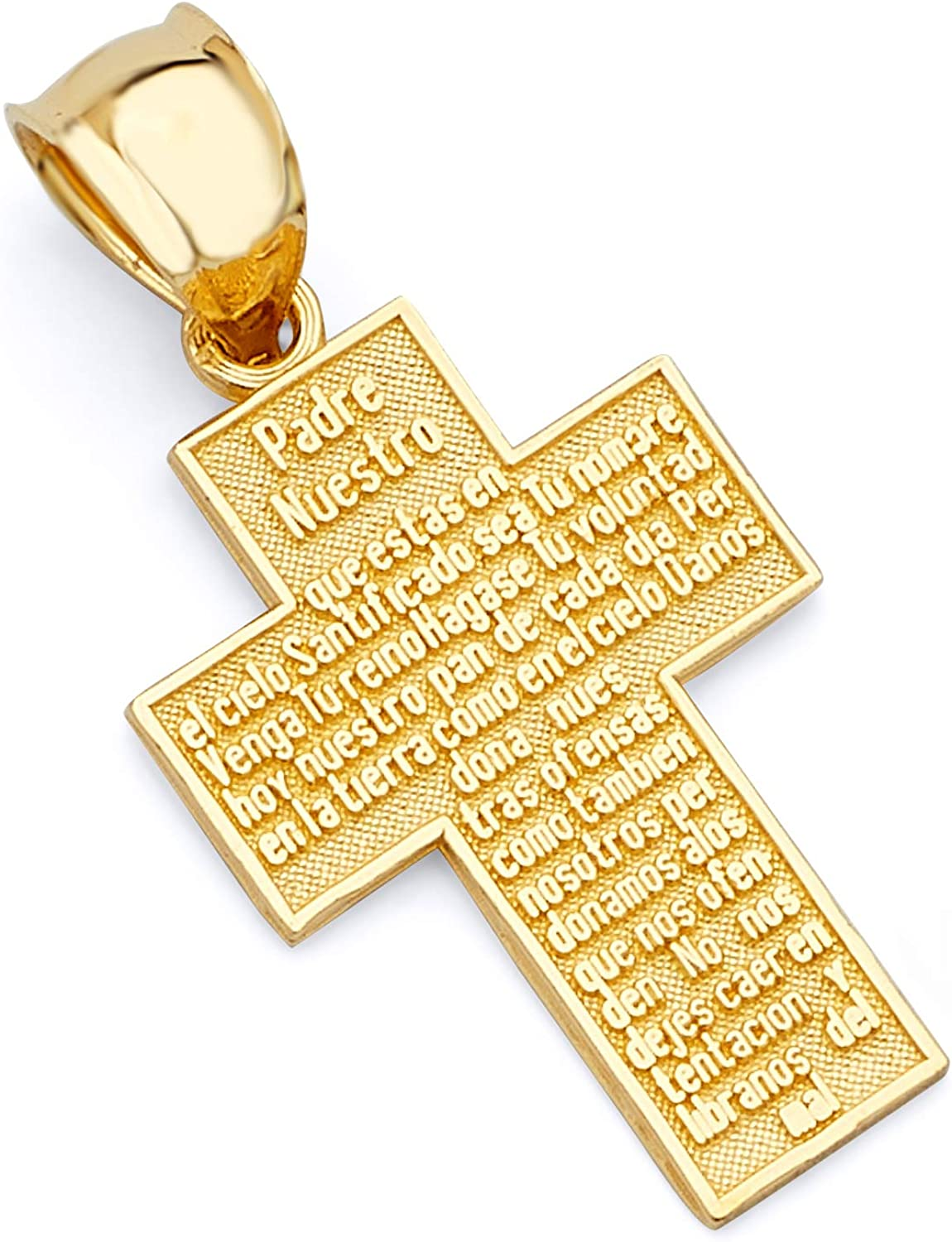 14k REAL Yellow Gold Religious Padre Nuestro Cross Charm Pendant