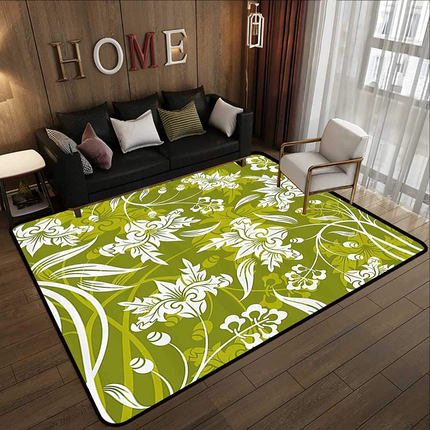 Multi-color Modern Area Rug,Floral,Flourishing Flower Pattern on Green Background Nature Illustration,Olive and Light Green White 47 x 59  Non Slip Door Mat for Front Door