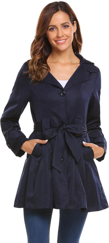 Bifast Women Notched Lapel SingleBreasted Detachable Hoodie Windbreaker Trench Coat with Belt SXXL