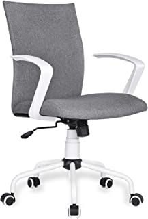 Home Office Desk Chair Computer Chair with Removable Arms and Wheels Mid Back Cloth Morden, Heather Grey