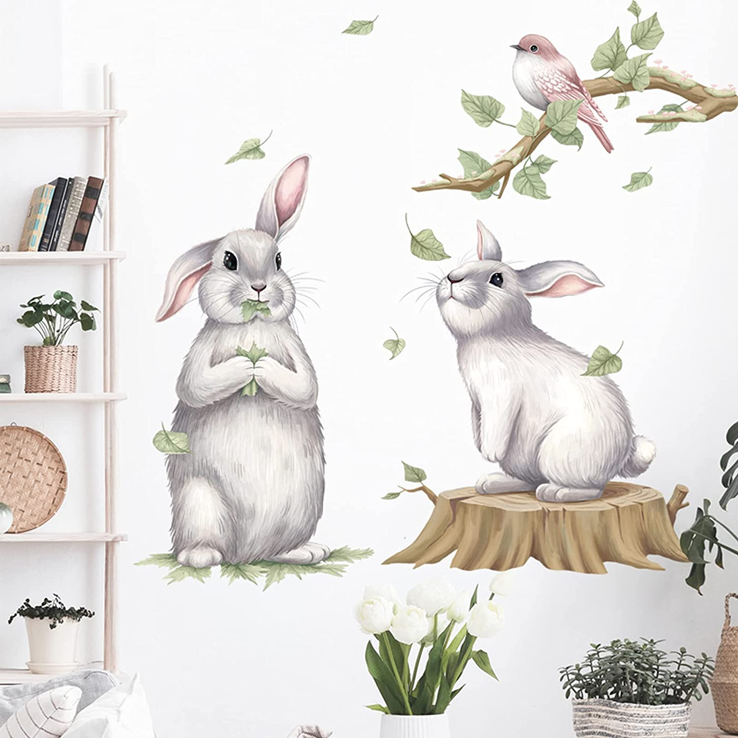 2 Cute Rabbit Wall Stickers with Bird On The Branches Decals, Removable Cartoon Animal Bunny 3D Vinyl Wallpaper Decor, DIY Art Mural for Nursery Baby Bedroom Living Room