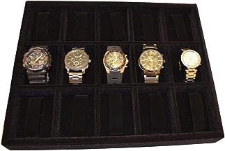 Watch organizer drawer insert tray, wood & velvet 15