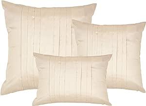 DreamHome 18 X 18 Pleated Faux Silk Pillow Cover (Ecru)