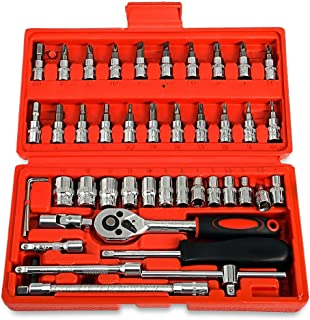 Replaitz 46pcs 1/4-Inch Screwdriver Socket Bit Ratchet Wrench Combination Tools Kit with...