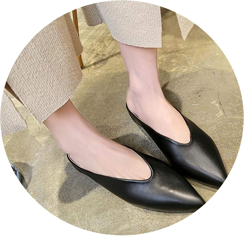 Monicas-house Women Flat shoes Mules for Women PU Leather Pointed Toe Slip On Flip Flops Women Slipper