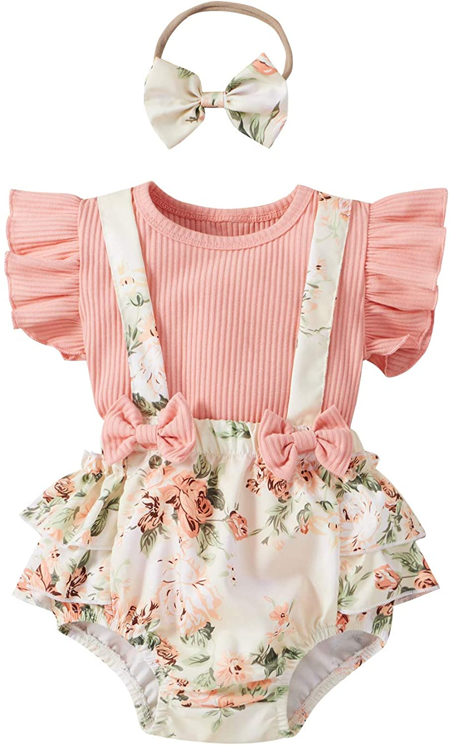 Infant Baby Girl Clothes 3PCS, Ruffle Top + Floral Suspender Shorts + Headband