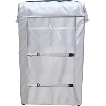 [Mr.You]洗濯機カバー 【デザイン改良】 4面包みデザイン シルバー 台風対応 防水 防塵 日焼け止め バックルつき(M 55*56*90)