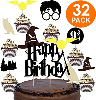 Harry Potter Party Supplies - Harry Potter Decorations - Harry Potter Birthday Party Supplies for Harry Potter Party - Harry Potter Cake Topper - Harry Potter Birthday - Harry Potter Cake Decorations
