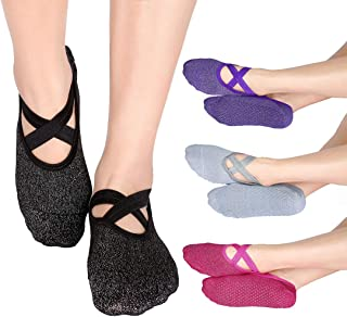 Yoga Socks for Women Non Slip Sock with Grips for Pilates Dance Workout Trampoline Playrooms Barefoot at Home