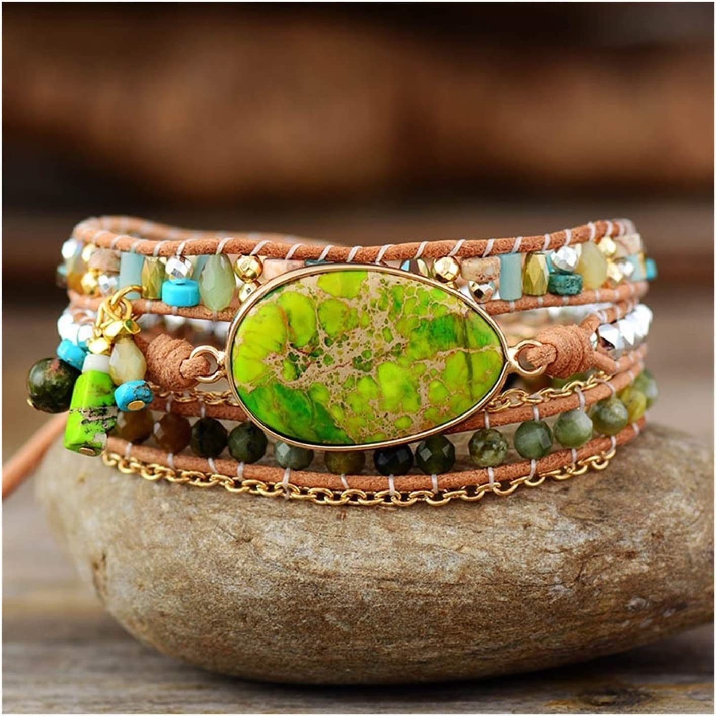 AOSUAI Multilayers Leather Wrap Challenge the lowest price of Japan ☆ Natural 5% OFF Bracelets Jaspers Stone