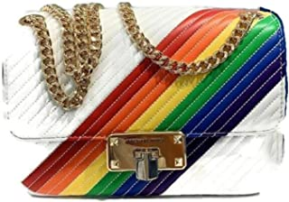 MICHAEL Michael Kors Rainbow Peyton Shoulder Flap Quilted Leather Chains Medium White